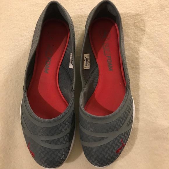 Grey slip-on pumas